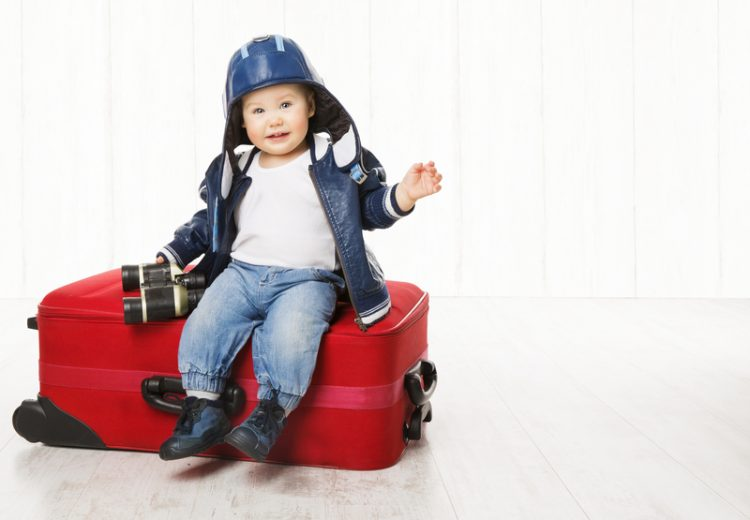 © Inarik | Dreamstime.com - Baby And Suitcase, Kid Luggage, Child Boy Leather Jacket Helmet Photo