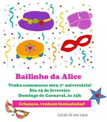 convite bailinho carnaval infantil
